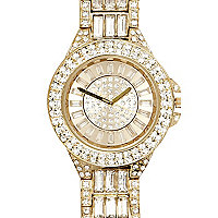 Gold tone diamante embellished bracelet watch