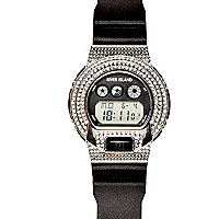 Black diamante encrusted digital watch