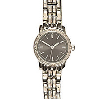 Silver tone metal sports bracelet watch