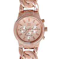 Rose gold tone curb chain watch
