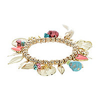 Gold tone stretch charm bracelet