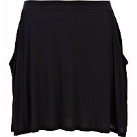Black drape pocket skater skirt