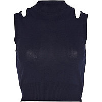 Navy cut out shoulder knitted crop top