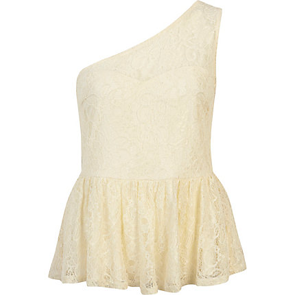 Cream lace one shoulder peplum top