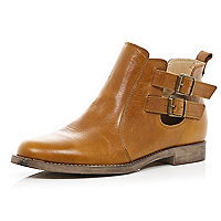 Tan buckle cut out ankle boots