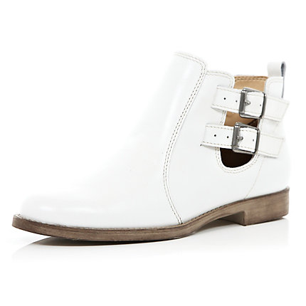 White buckle cut out ankle boots
