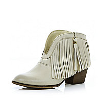 White leather fringed ankle boots