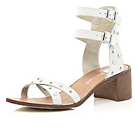 White studded block heel sandals