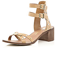 Brown studded block heel sandals