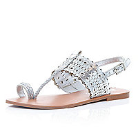 Silver laser cut toe loop sandals