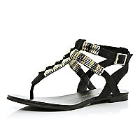 Black embellished strap sandals
