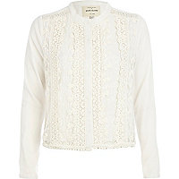 Cream collarless lace jacket