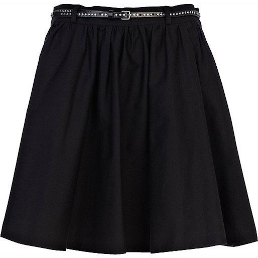 Black belted full skater skirt
