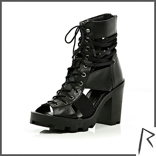 Black Rihanna cut-out lace up ankle boots