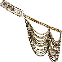 Gold tone and pearl mixed draped hair chain