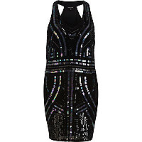Black beaded racer back dress