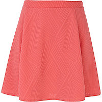 Coral textured pattern skater skirt