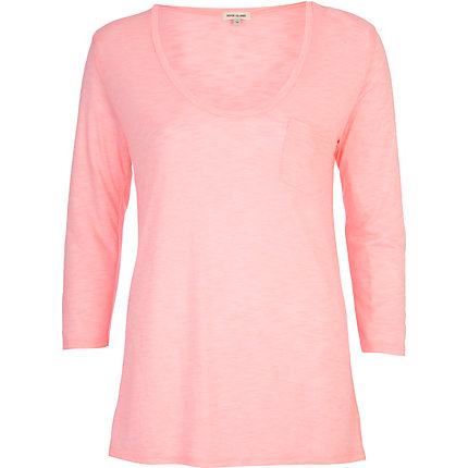 Pink low scoop neck t-shirt