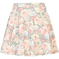 Grey washed floral skater skirt