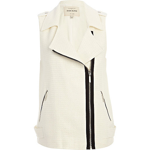 White tweed sleeveless biker gilet