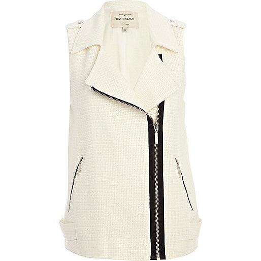 White tweed sleeveless biker vest