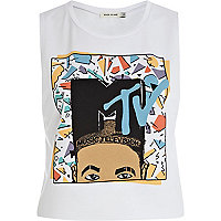 White MTV print tank top