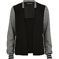 Black contrast sleeve varsity jacket