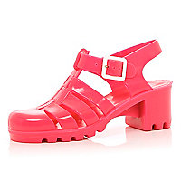 Pink block heel JuJu jelly sandals