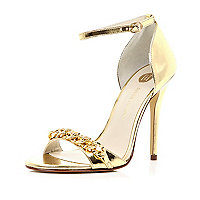 Gold chain embellished barely there sandals