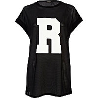 Black R print mesh oversized t-shirt