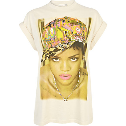 Cream Rihanna print diamante t-shirt