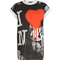 Grey I love NY graffiti print t-shirt