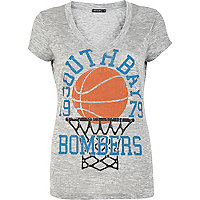 Grey basketball print V neck t-shirt