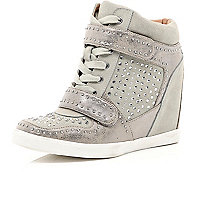 Beige diamante concealed wedge high tops