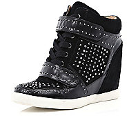 Black diamante concealed wedge high tops