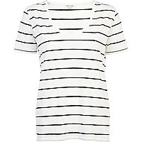 Black and white stripe low scoop t-shirt