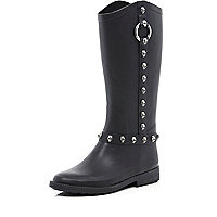 Black skull stud trim welly boots