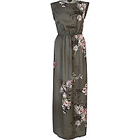 Grey floral print sleeveless maxi dress