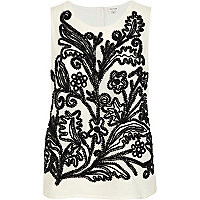 White pattern embellished tank top