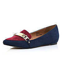 Navy colour block pointed loafers