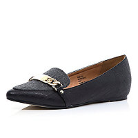 Black colour block pointed loafers