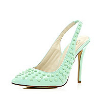 Mint green studded sling back court shoes