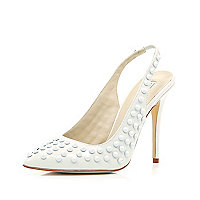 White studded sling back pointed court shoes