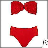 Red Rihanna ruched bandeau bikini set