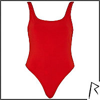 Red Rihanna backless high leg swimsuit