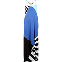 Blue colour block metal plate back maxi dress