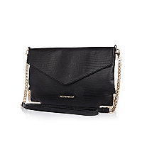 Black snake flap over cross body bag
