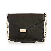 Black snake cross body bag