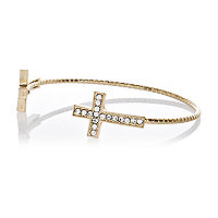 Gold tone diamante cross cuff bracelet