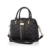 Black quilted panel studded bowler bag